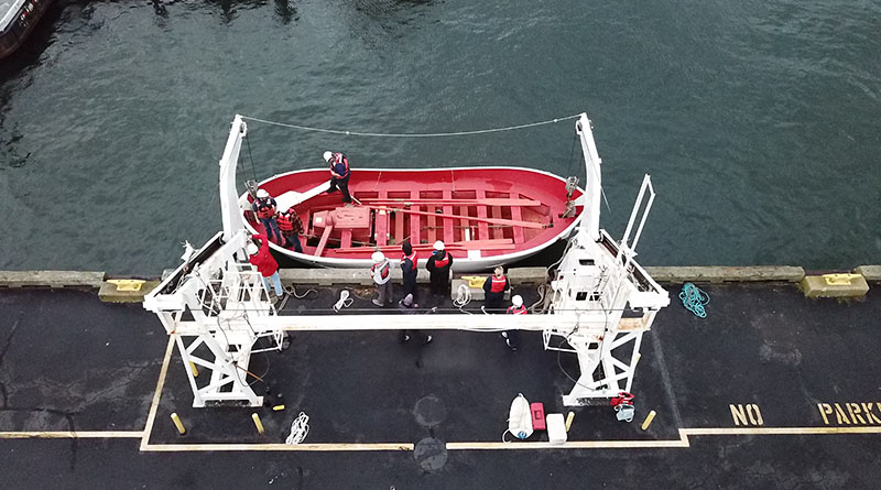 lifeboatman, view from above, aerial view